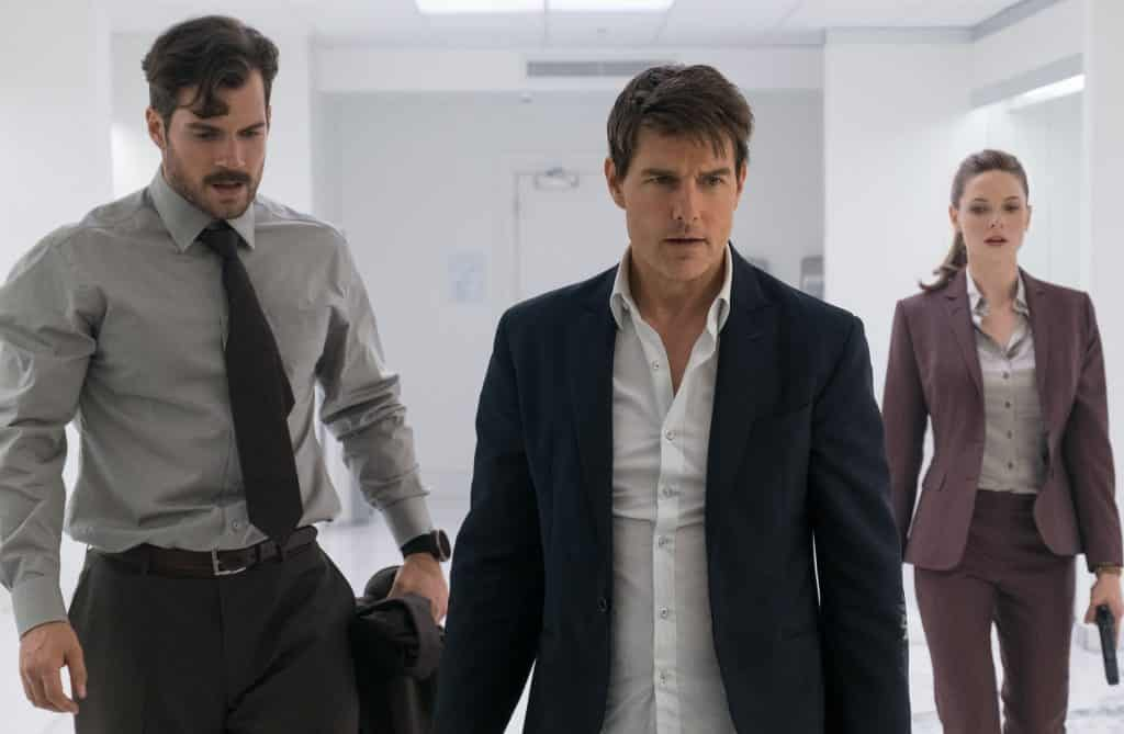 Left to right: Henry Cavill as August Walker, Tom Cruise as Ethan Hunt and Rebecca Ferguson as Ilsa Faust in MISSION: IMPOSSIBLE - FALLOUT from Paramount Pictures and Skydance. - Mission Impossible Fallout Review Spoiler Free