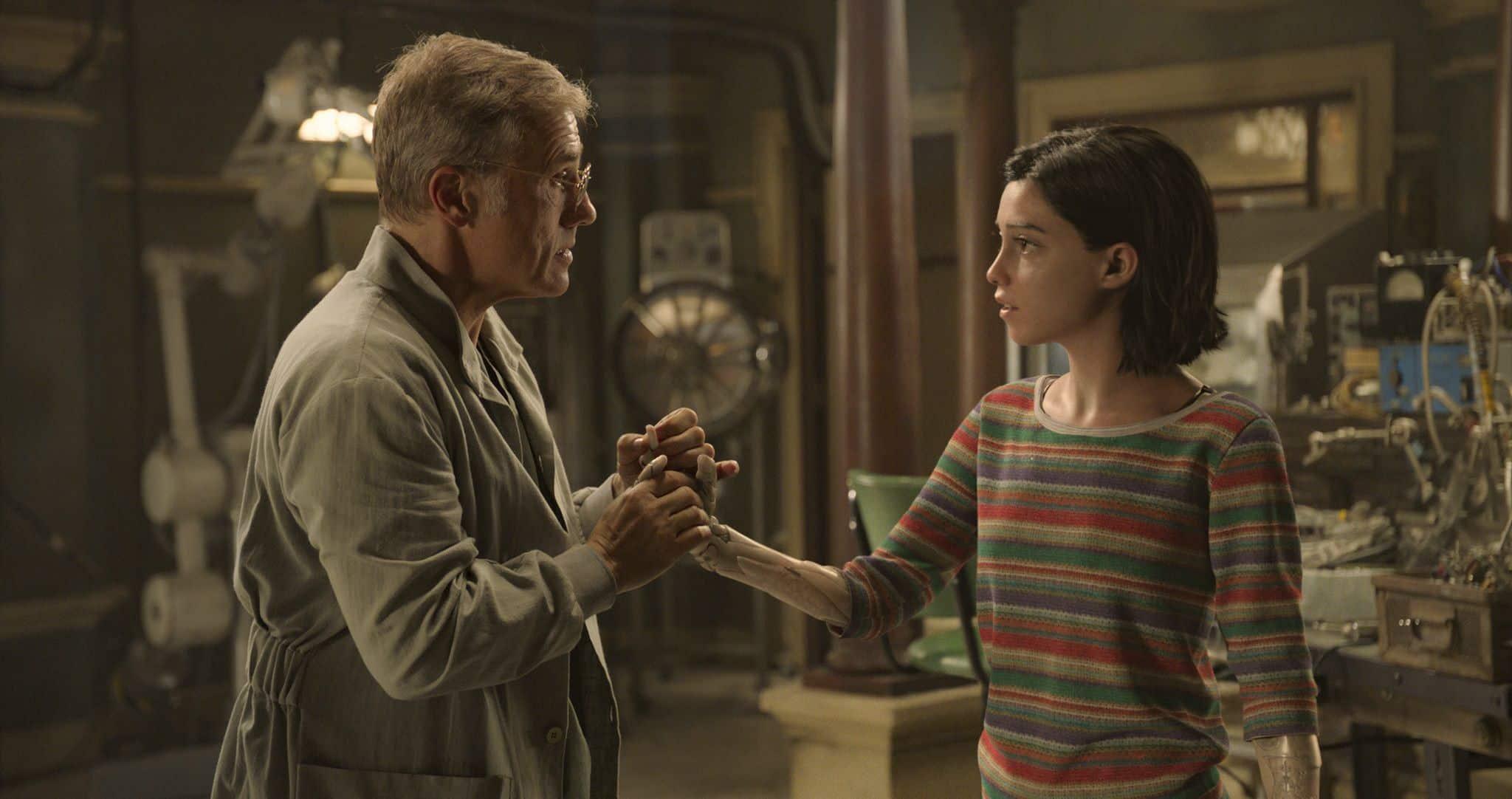 Christoph Waltz and Rosa Salazar in Alita: Battle Angel