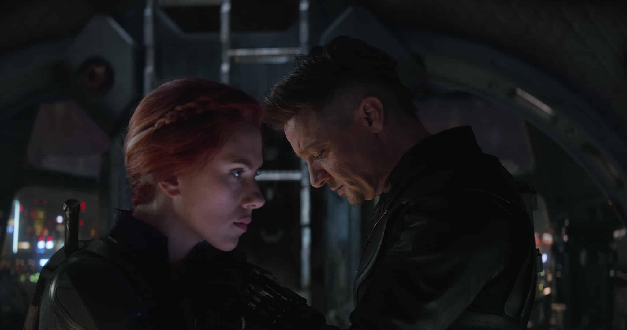 Scarlett Johansson as Natasha Romanoff and Jeremy Renner as Clint Barton in Avengers: Endgame